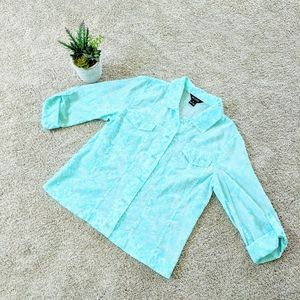 Blue Formal Sheer Multiples Button Down Shirt